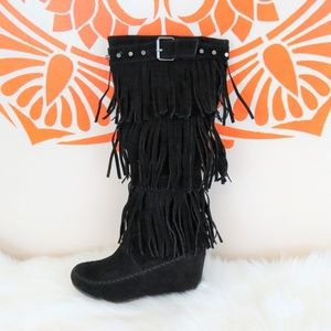 Black Leather Fringe Hippy Wedge Boots